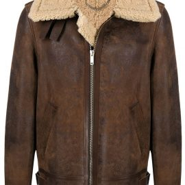 Golden Goose layered zip-up leather jacket - Brown