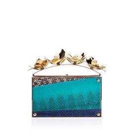 Golden Orchid Evening Bag: Blue Designer Clutch