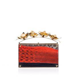Golden Orchid Evening Bag: Red Designer Clutch