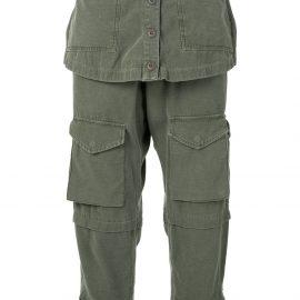 Greg Lauren cropped straight-leg trousers - Green