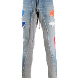 Greg Lauren low slung zipped jeans - Blue