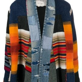 Greg Lauren patchwork kimono jacket - Blue