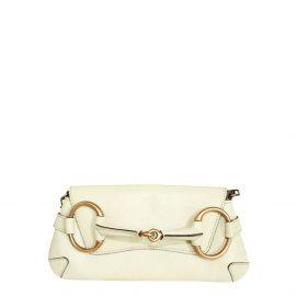 Gucci Beige Leather Horsebit Clutch Bag