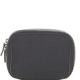 Gucci Black GG Canvas Fabric Clutch Bag