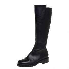 Gucci Black Guccissima Leather Knee Length Boots Size 38.5