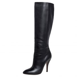Gucci Black Leather Adina Knee Length Boots Size 38.5