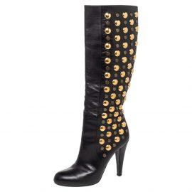 Gucci Black Leather Babouska Studded Knee Length Boots Size 38