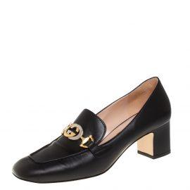 Gucci Black Leather Zumi Block Heel Loafer Pumps Size 41
