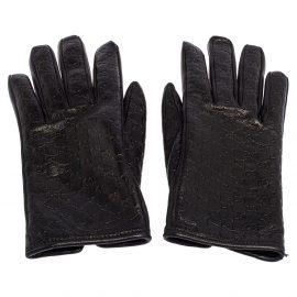 Gucci Black Microguccissima Lambskin Leather Gloves