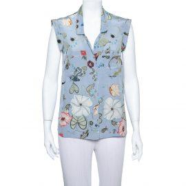 Gucci Blue 'Flora' by Kris Knight Printed Sleeveless Silk Shirt M