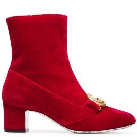 Gucci Devil Red Victoire 55 Velvet Ankle Boots