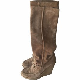 Gucci Gucci Beige Light Brown Suede Loafer Wedge Tall Boots