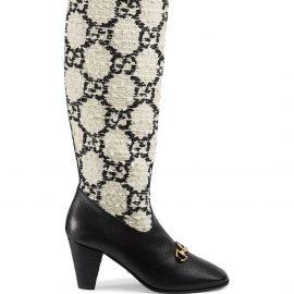 Gucci Gucci Zumi GG tweed knee-high boots - White