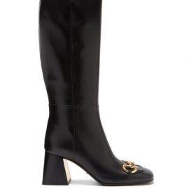 Gucci - Horsebit Leather Knee-high Boots - Womens - Black