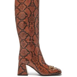 Gucci - Horsebit Python-effect Leather Knee-high Boots - Womens - Python
