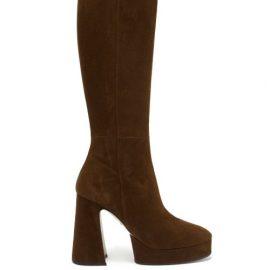 Gucci - Madame Suede Knee-high Platform Boots - Womens - Dark Brown