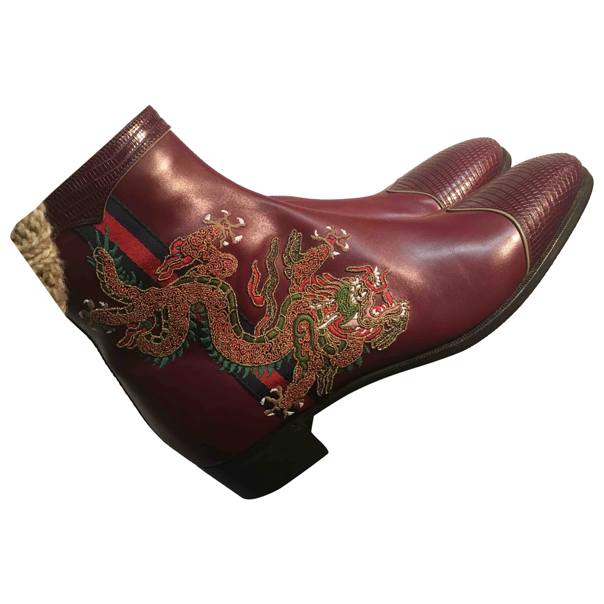 Gucci N Burgundy Leather Boots for Men