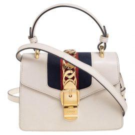 Gucci Off White Leather Mini Web Chain Sylvie Top Handle Bag