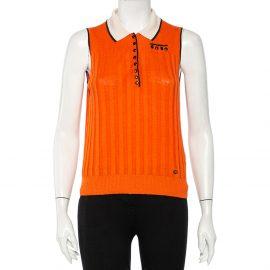 Gucci Orange Linen & Silk Knit Contrast Trim Detail Sleeveless Polo T-Shirt L