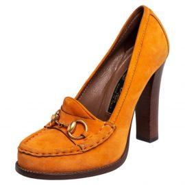 Gucci Orange Suede Horsebit Loafer Pumps Size 37.5