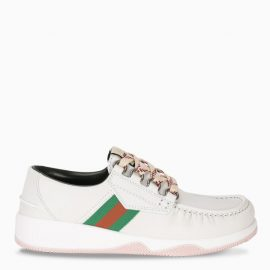 Gucci White lace-up shoes with Web