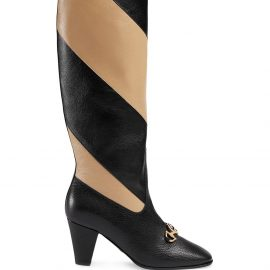 Gucci Zummi GG Horsebit striped knee-high boots - Black