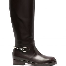 Gucci buckle-detail knee-length boots - Brown