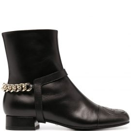 Gucci chain-trim leather ankle boots - Black