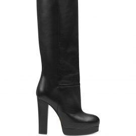 Gucci platform knee length 130mm boots - Black