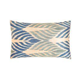 HERITAGE Geneve - Artemis Blue Leaf Ikat Silk Double Sided Heritage Design Cushion