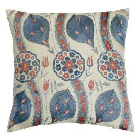 HERITAGE Geneve - Blue Leaf Design Silk Suzani Cushion