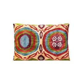 HERITAGE Geneve - Garden Of Beauty Silk Velvet Ikat Decorative Rectangular Cushion