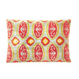 HERITAGE Geneve - Luxury Geometric Design Blue Velvet Ikat Heritage Style Cushion
