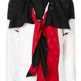 Haider Ackermann drape neck colour block blouse - White