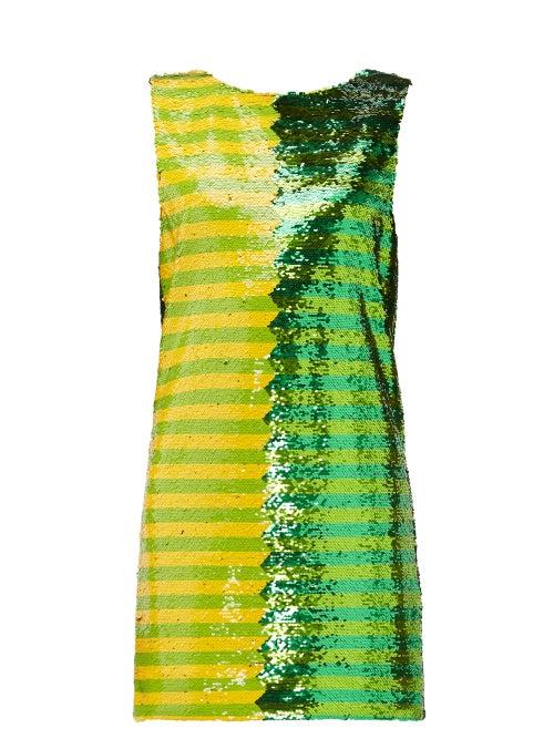 Halpern - Striped Sequinned Mini Dress - Womens - Green Print