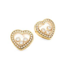 Happy Diamonds 18K Yellow Gold & Diamond Pavé Heart Stud Earrings