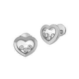 Happy Diamonds Heart 18K White Gold Stud Earrings