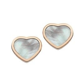 Happy Hearts 18K Rose Gold & Mother-Of-Pearl Stud Earrings
