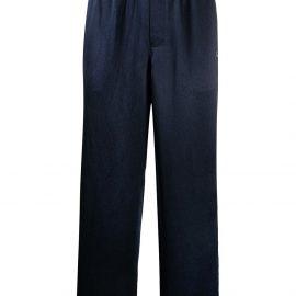 Helmut Lang satin pyjama-style trousers - Blue