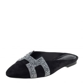 Hermes Black/Silver Suede And Crystal Roxane Mules Size 37