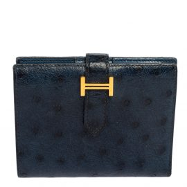 Hermes Bleu Iris Ostrich Bearn Compact Wallet