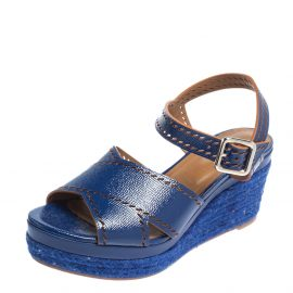 Hermes Blue Glossy Leather Perforated Espadrille Wedge Sandals Size 39