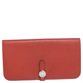 Hermes Brique/Rouge Swift Leather Dogon Recto Verso Wallet