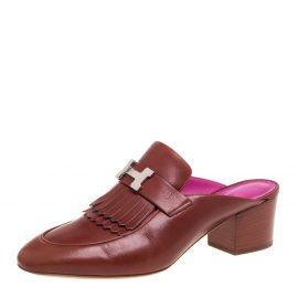 Hermes Brown Leather Tuileries Block Heel Mules Size 40.5