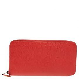 Hermes Jaipur Epsom Leather Azap Silk In Zip Around Wallet