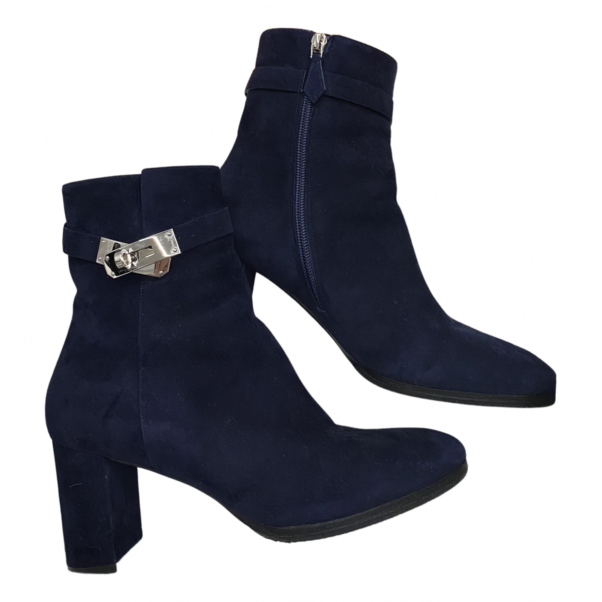 Hermès Joueuse Blue Suede Ankle boots for Women