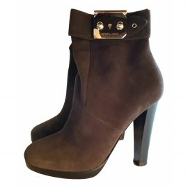 Hermès N Grey Suede Ankle boots for Women