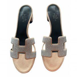 Hermès Oasis glitter mules