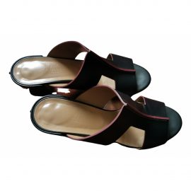 Hermès Ostia leather mules
