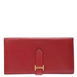 Hermes Red Bougainville Leather Epsom Bearn Wallet